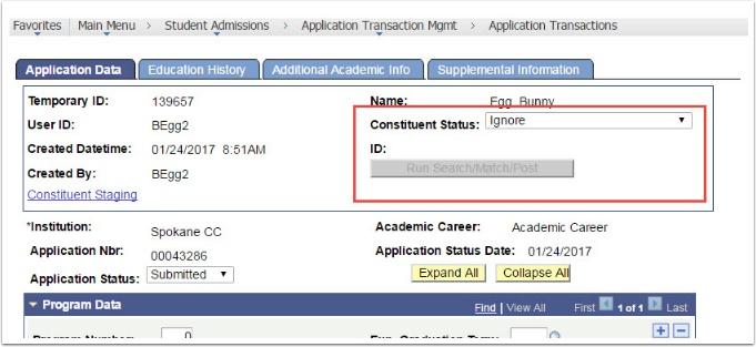 Application Data - Constituent Status = Ignore