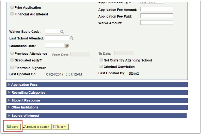 Application Data tab - Save button highlighted