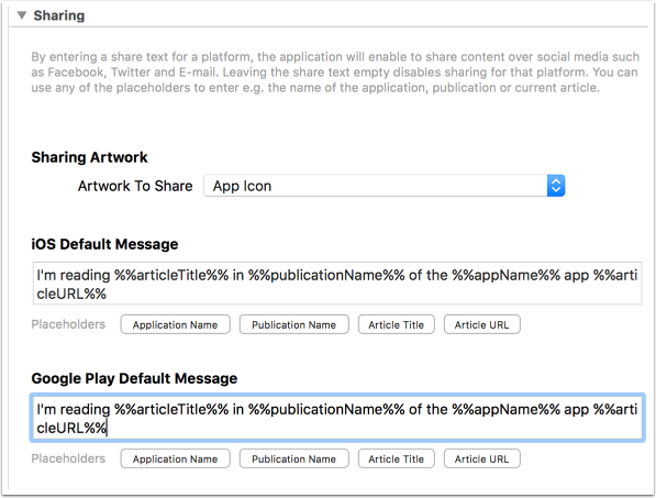 Configure the default sharing message