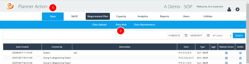Log into Data Hub