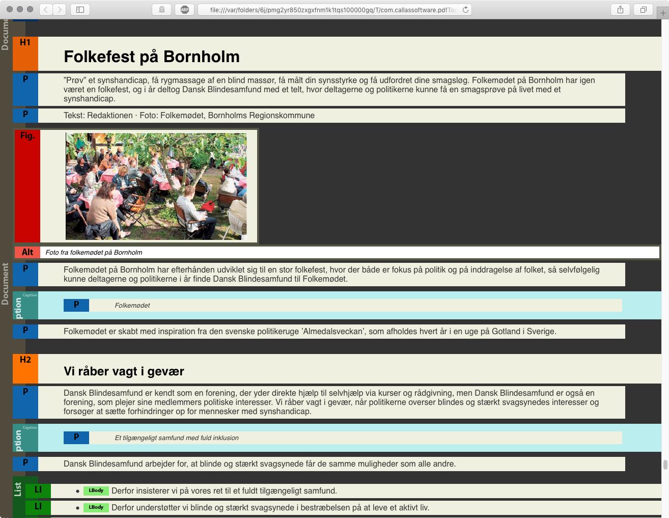 Semantische Prüfung mit der Strukturübersicht des PDF-Dokuments