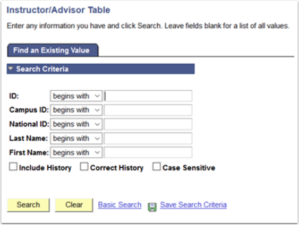 Instructor/Advisor Table - Find an Existing Value tab