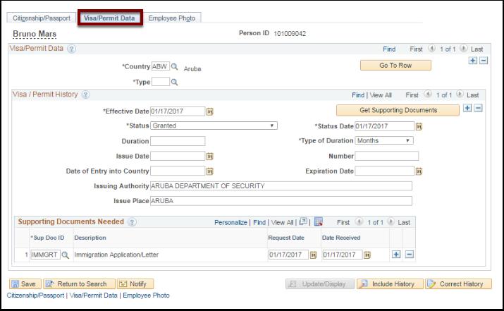 Visa/Permit Data tab
