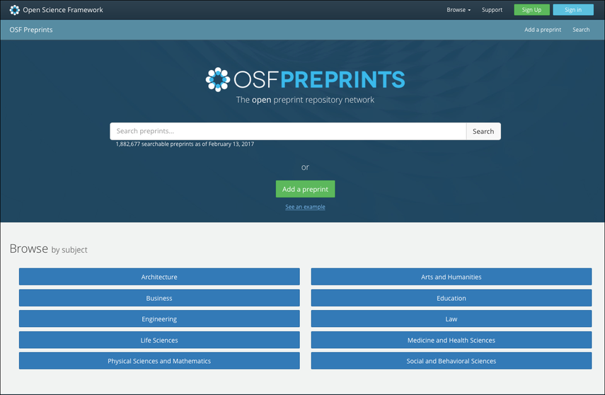 """OSF Preprints"" Homepage"