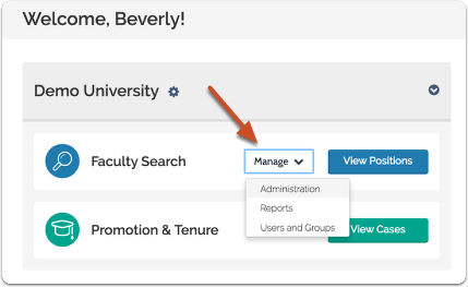 "Click ""Manage"" and select ""Administration"" from the dropdown menu"