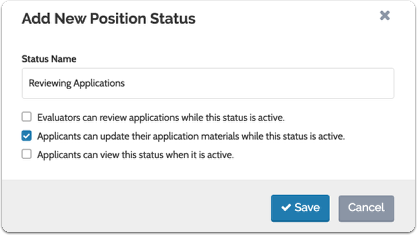 Enter the status name and indicate the permissions associated with the status