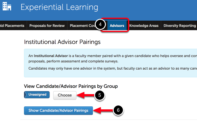 Step 2: View Candidate-Advisor Pairings