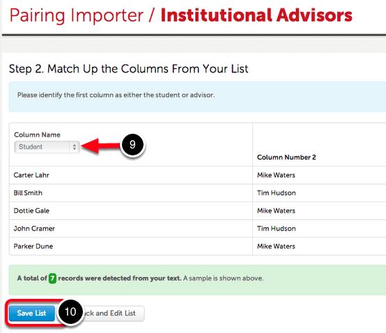 Step 5: Save Pairings List