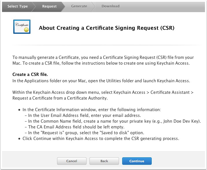 Create a Certificate Signing Request