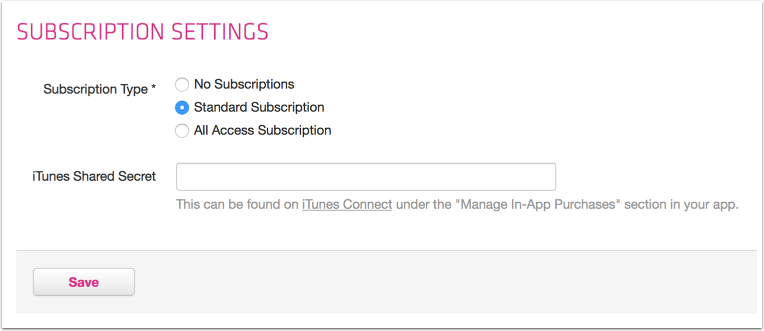 Standard subscriptions or all access subscriptions in article-based apps