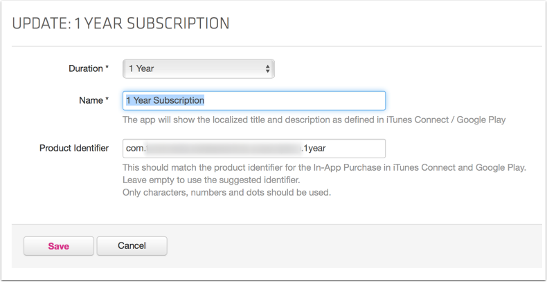 Important note: also add a duration for a free subscription