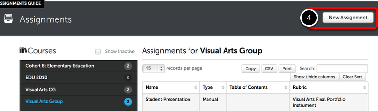 Step 2: Create New Assignment Template