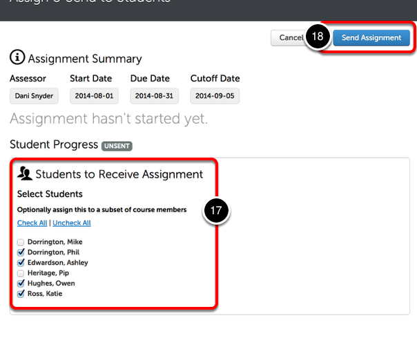 Step 6: Select Students to Complete Assignment