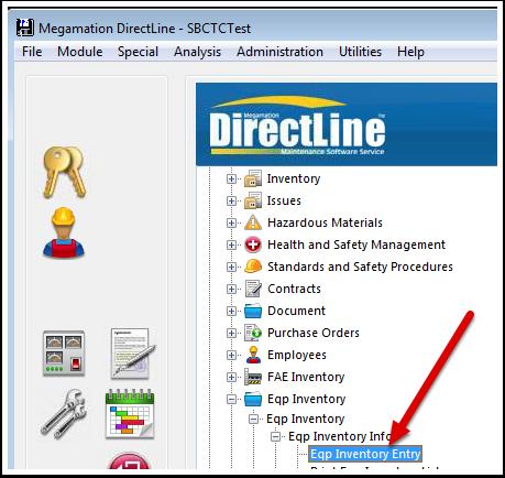 Megamation DirectLine - Eqp Inventory Entry