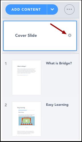 Ouvrir les réglages de la diapositive de couverture
