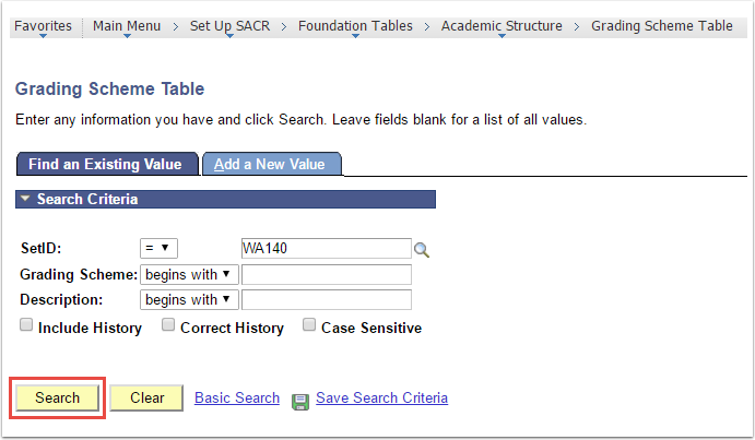 Grading Scheme Table Find Existing Value tab
