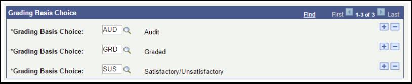 Grading Basis Choice page