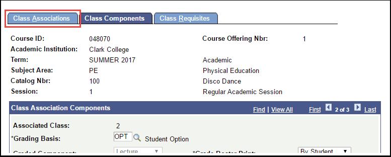 Class Associations tab