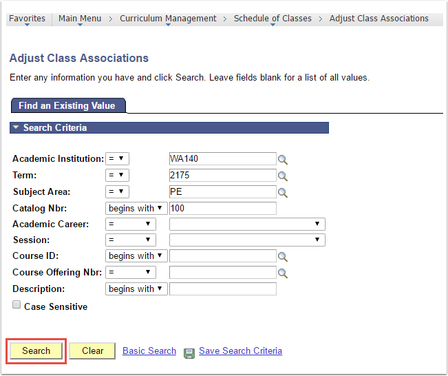 Adjust Class Associations - Find an Existing Value tab