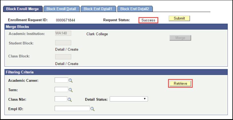 Block Enrollment Merge Success Status