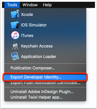 Export Developer Identity...