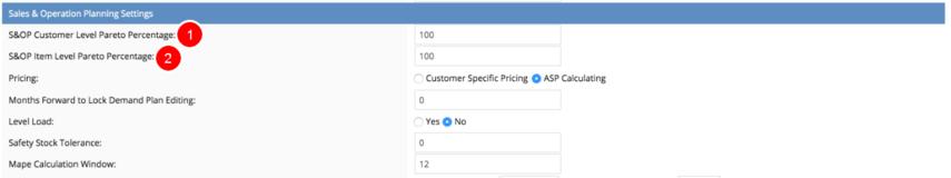 Set Pareto Percentage values in System Settings