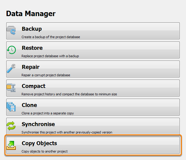 Click Copy Objects in Data Manager