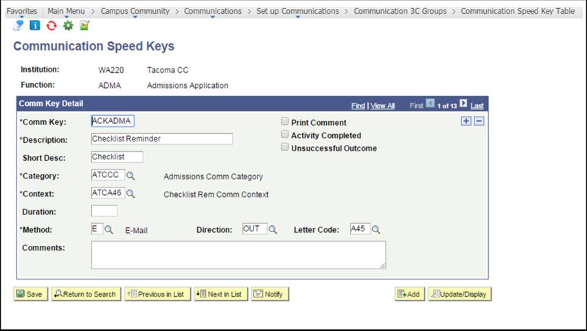 Communication Speed Keys