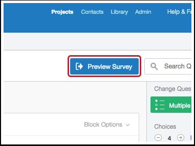 Preview survey button