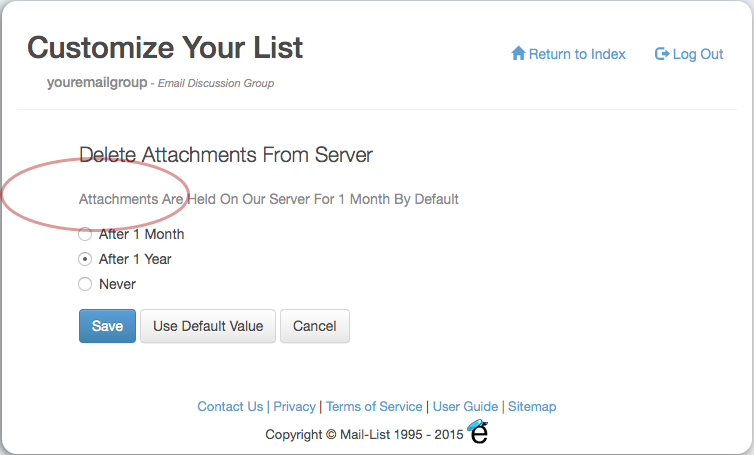 """Click on the option """"Delete Attachments From Server"""" to automatically delete the attachments from your server after 1 Month, 1 Year, or Never"""