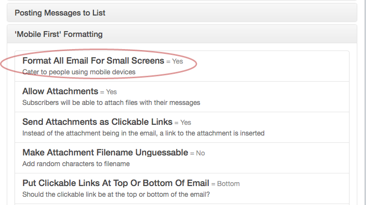 """Click on """"Allow Attachments"""" under """"Mobile First"""" Formatting section:"""