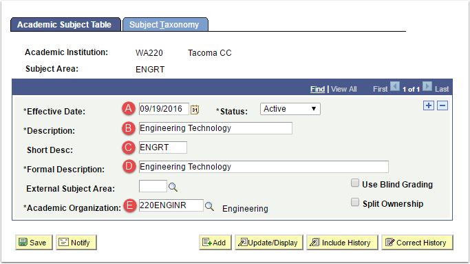 Academic Subject Table Tab