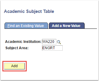 Academic Subject Table Add a New Value