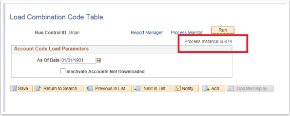 Account Code Load Parameters section
