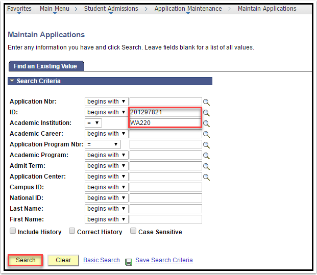 Maintain Applications - Find an Existing Value tab