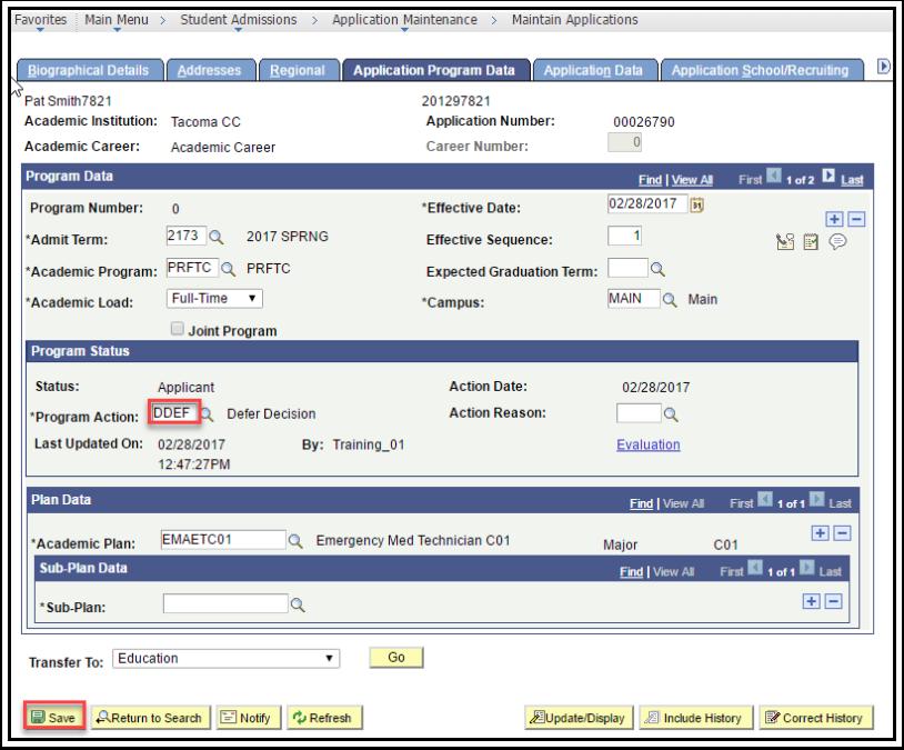 Application Program Data tab - Program Action