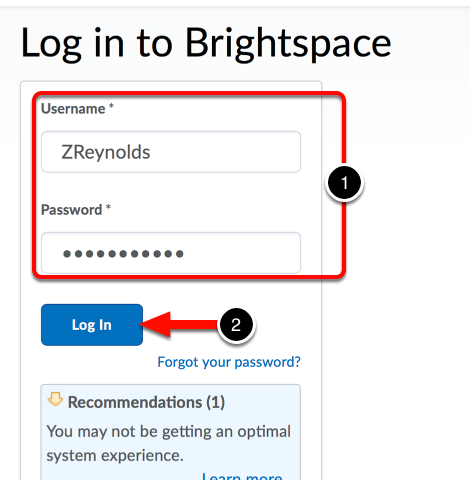 Step 1: Log into Your Desire2Learn Account