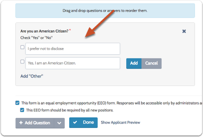 If the question type is multiple choice, checkboxes or a grid, you will need to enter possible answers