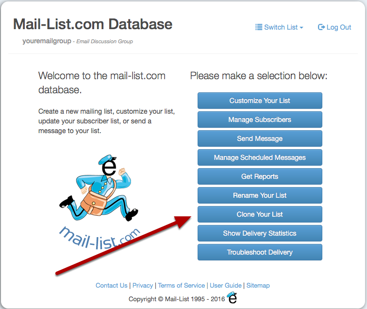 Start at https://database.mail-list.com/ and log in to your list
