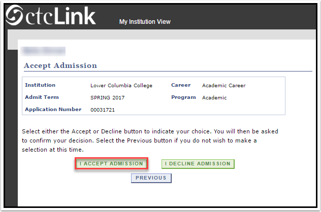 I Accept Admission link