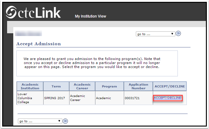 Accept Admission page