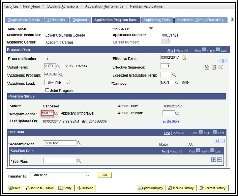 Application Program Data - Applicant Withdrawal