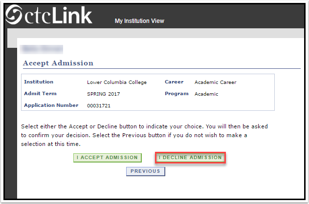 Decline Admission link