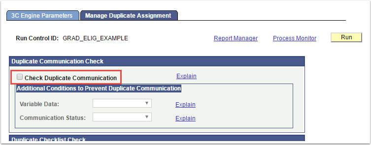 Manange Duplicate Assignment tab - Check Duplicate Communication