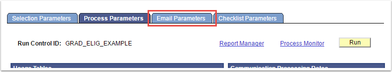 Email Parameters tab