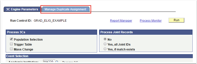 Manange Duplicate Assignment tab