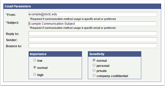 Email Parameters page