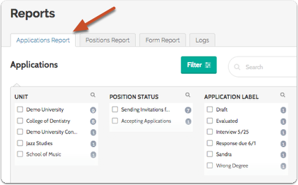 "Reports opens by default on the""Applications Report"" tab"