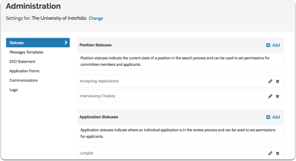 Set Position Statuses and Application Statuses