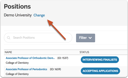 "Check to make sure you are viewing positions for the correct role by using the ""Change Role"" button"